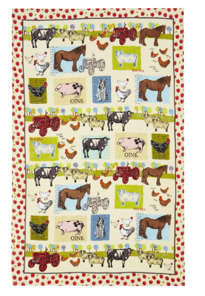 Down On The Farm Linen Tea Towel