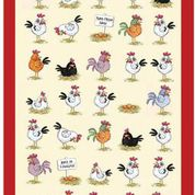 Chickens Linen Tea Towel