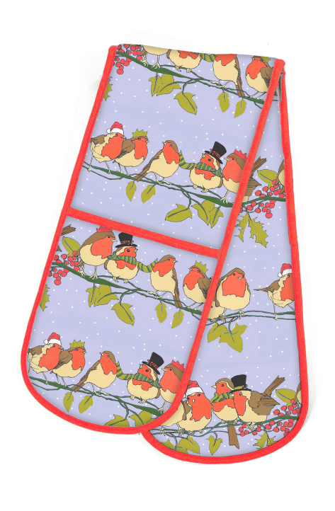 Christmas Robins Cotton Double Oven Gloves