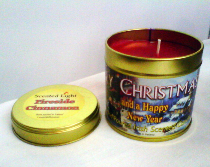 Fireside Cinnamon Hand Poured Candle Tin