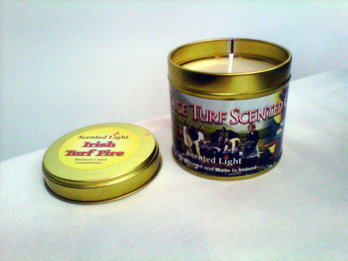 Irish Turf Fire Hand Poured Candle Tin