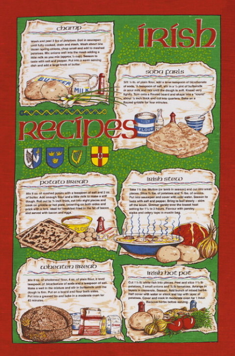 Irish Recipies Linen Tea Towel 1