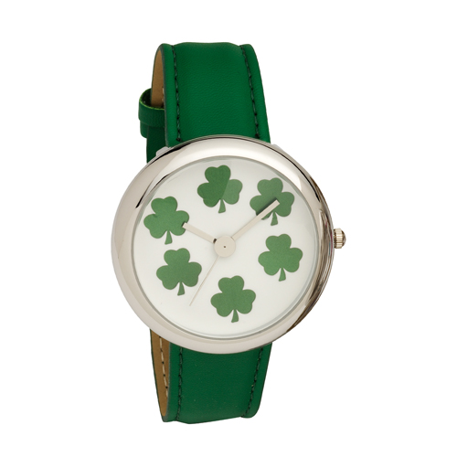 Ladies Shamrock Dial Wrist Watch with Green PU Strap
