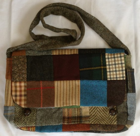 Patch Tweed Satchel Bag