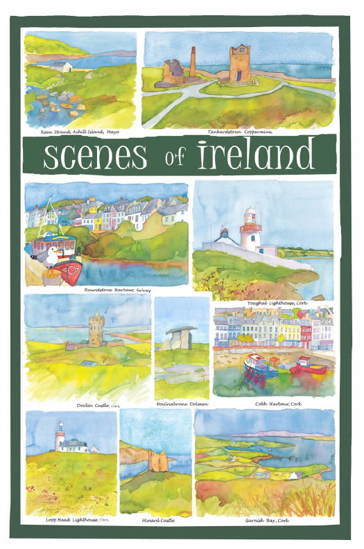 Scenes of Ireland Linen Tea Towel