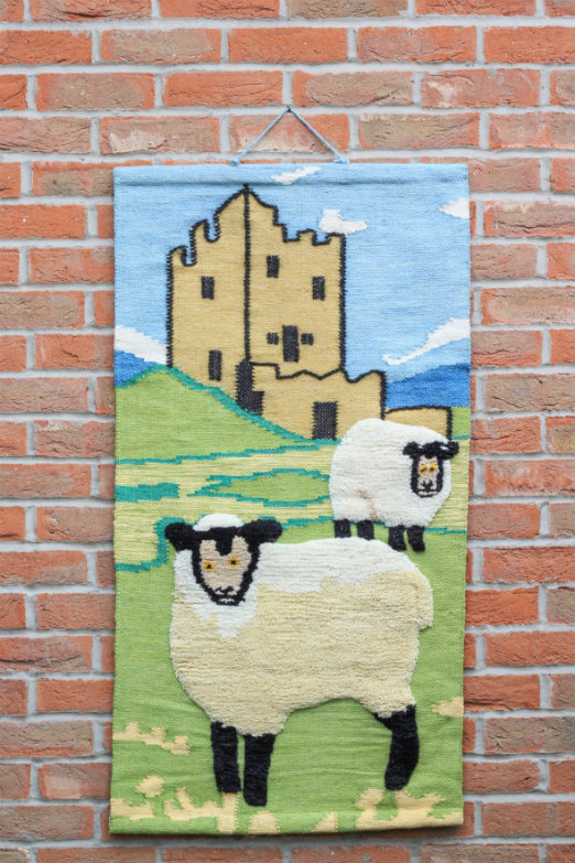 Sheep and Castle Hand-made Jute Tapestry Wall Hanging - Click Image to Close