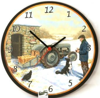 Snowy Little Grey Fergie Tractor Clock