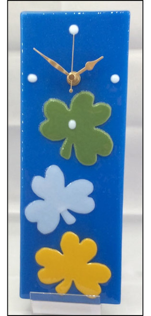 Fused Art Irish Shamrocks Glass Clock